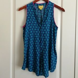 Maeve blue sleeveless tee with pink edging